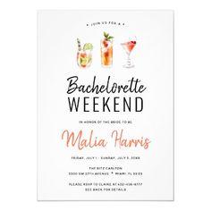 Bachelorette Weekend Itinerary Cocktail Drinks Invitation Monogram Wedding Invitations, Bachelorette Party Invitations, Bachelorette Weekend, Elegant Wedding Invitations, Wedding Invitation Cards, Zazzle Invitations, Baby Shower Invitations, Invite, Invitation Wording