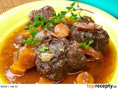 Hovězí na burgundský způsob No Salt Recipes, Cooking Recipes, Appetizer Recipes, Appetizers, Modern Food, Pot Roast, Food Inspiration, Carne, Stew