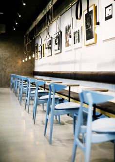 Printz Mathall, Stockholm, blue wooden chairs, white ceramic tiles, Rubn | Remodelista