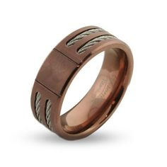 wide rose gold mens titanium signet ring with double cable inlay - Mens Rose Gold Wedding Rings