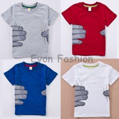 2014 spring new arrival fashion wholesale 100% Cotton tee big hand finger printing children t shirts $9.99