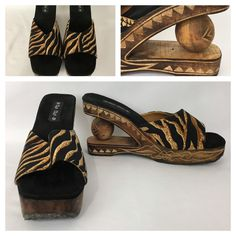 Wooden Sandals Size 7 Animal Print Carved Sole Ball in Heel Cha Cha Shoes #ChaCha #PlatformsWedges #Casual