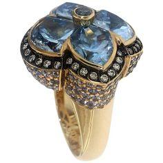 Zorab Creation Blue Topaz, Diamond and Blue Sapphire Ring