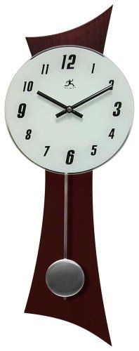 An eye-catching wall clock with a working pendulum. Wood and glass construction. Style # at Lamps Plus.