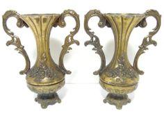 Set of 2 identical Vintage Ornate Flower Vases  ~ Made in Italy