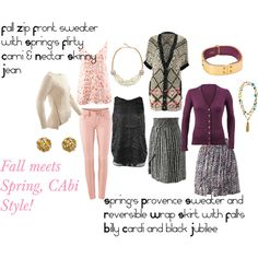 """""""Fall meets Spring, CAbi Style!"""" by lesalarkin on Polyvore www.jeanettemurphey.cabionline.com"""