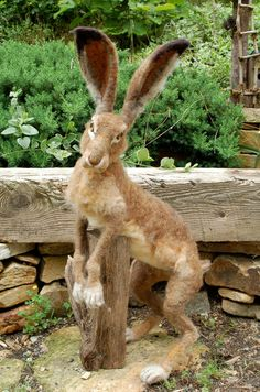 Wild Brown Hare Needle Felted by SarafinaFiberArt on Etsy, $1175.00