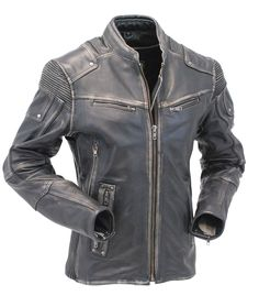 Women's Ultimate Vintage Racer Vented Stretch Motorcycle Jacket w/Gun Pockets #LA68331VGY