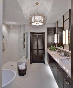 modern bathroom, white countertop, expresso cabinets