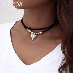 Triângulo Pedra Gargantilha Colares de Dupla Camada Pingente de Unicórnio para As Mulheres Collier Colar De Couro Cordão