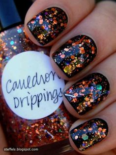 cauldron-drippings-halloween-orange-purple-black-glitter-nails-polish-designs-ideas-for-simple-fast-easy-fun-cute-quick-and-n-how-to-at-home. Love Nails, Fun Nails, Pretty Nails, Cute Halloween Nails, Fall Halloween, Purple Halloween, Halloween Recipe, Halloween Pictures, Halloween Ideas