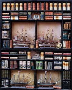 "Miniatures mini library ""sailing""- Artisan Handmade Miniature in 12th scale. From CosediunaltroMondo"