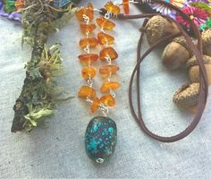Turquoise and Baltic Amber on Deerskin Leather, Handmade, OOAK by SaracenProvisions on Etsy