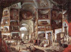 """Giovanni Paolo Pannini - Roma Antica - 1755 - Stoccarda, Staatsgalerie. """"Il grand tour e il fascino dell'Italia"""", saggio di Cesare De Seta"""