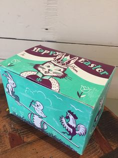 VINTAGE 1957 COMLY INC PHILADELPHIA PA EASTER BUNNY RABBIT EGGS CANDY BOX | eBay