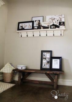 Love how the photos are arranged on the shelf!