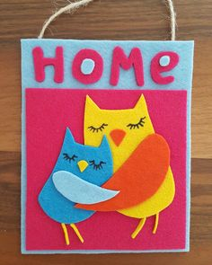 #handmade #felt #walldecor #doordecor #hugging #owls #forsale #onebay