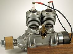 """The first (and only) advertisement for this engine appeared in Model Airplane News of June 1938 in which it was named merely (and I quote from the ad) """"..an Alternate Firing Twin"""". It could be ordered direct from Southern Model Engineers of Nashville Tennesee for the sum of $20.00, postage paid. The engine was the work of Bob Chunn, a barber by trade, but a talented modeller with a love of machines. Today it is most commonly called the """"Chunn Twin"""""""
