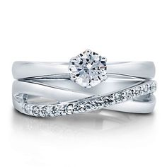 Cubic Zirconia CZ Sterling Silver 2-Pc Woven Bridal Ring Set 0.46 Ct