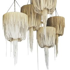 Urchin Leather Chandelier - Contemporary Mid-Century / Modern Organic Chandeliers - Dering Hall