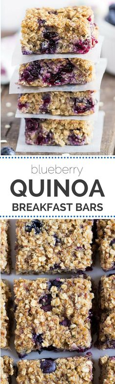 Quinoa Breakfast Bars--they're full of fresh, juicy blueberries, with a hint of tangy lemon.and they're vegan!Blueberry Quinoa Breakfast Bars--they're full of fresh, juicy blueberries, with a hint of tangy lemon.and they're vegan! Healthy Treats, Healthy Baking, Healthy Food, Healthy Bars, Eating Healthy, Paleo Bars, Blueberry Quinoa Breakfast Bars, Quinoa Bars, Vegan Breakfast Muffins
