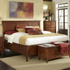 Westlake Transitional Queen Bed with 6 Storage Drawers by AAmerica | Wolf Furniture