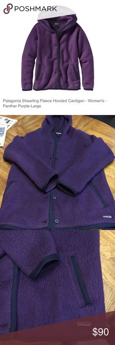 Patagonia Sherling Fleece Cardigan Like new, only worn twice. Fits a little big Color:	Panther Purple Age Group:	Adults Apparel Weight:	Midweight Application:	Layering Available Sizes:	XS - XL Color Family:	Purple Fabric/Material:	100% Polyester Gender:	Female Pockets:	Handwarmer pockets Weight:	1 Insect Repellent:	No Jacket Style:	Midweight Fleece Sleeve Length:	Long Sleeve Patagonia Sweaters Cardigans