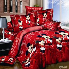 "HOT PRICES FROM ALI - Buy Cotton bed linen mickey mouse bedding sets minnie kids duvet cover kingqueentwin size bedspread Red happy bedding"" from category ""Home & Garden"" for only USD."