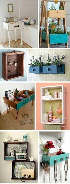 Puedes crear nuevos y sencillos muebles a partir de esos viejos cajones o gavetas que estas a punto de desechar. Si piensas renovar algunos...