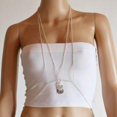 Silver chandelier body chain harness jewellery. FBS0009