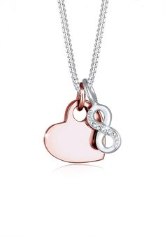 Elli necklace with rose gold plated heart and Infinity Bi-Color Swarovski® crystals in silver.