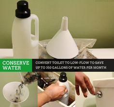#30GreenDays / DIY Low Flow Toilet to Conserve Water via (Sophistishe.com)