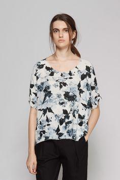Raquel Allegra | Floral Print Silk Tee | MYCHAMELEON.COM.AU
