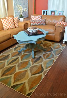 Blue and Tan modern rug from Mohawk #chevronpillow #setthetable #mohawkhome