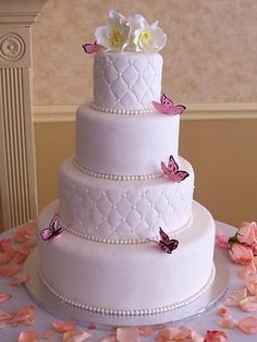 Pink Butterfly Wedding Cake