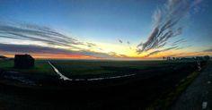 Sunset. On the way. #amsterdamphotoclub #igersamsterdam #igers #holland #panorama #sun #follow4follow #weesp #bunker #clouds #fall #fallcolors #autumn #sunset