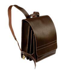 Elegant wie eine Aktentasche und praktisch wie ein Rucksack: Großer robuster Lehrerrucksack der Marke Jahn Tasche, Modell 670 in Leder, Braun, für Damen und Herren. 162,00 €