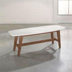 Sauder Faux Marble Soft Modern Coffee Table, Fine Walnut