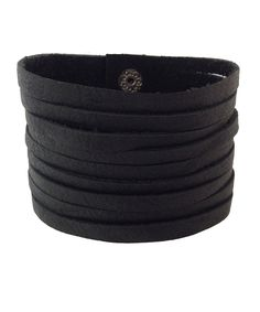 Black Slashed Leather Bracelet