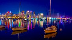 amazingthings92:  San Diego Reflections - San Diego Skyline and USS Midway Museum relfecting in Bay - by swatersplt58