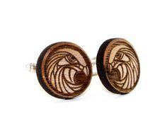 Men's Round Eagle Head Engraved Wood Cufflinks -Geometric Circle Wooden Bird Cuff Links -Patriotic, 4th of July, Americana, Gift Idea on Etsy, $20.00