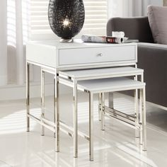 Gratten White Nesting Table Metal Accent Table Coffee Furniture End Modern Sofa | eBay