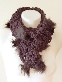 Purple scarf with faux fur pom pons mauve airy scarf by craftysou, $32.00