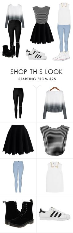 """""""clothes of day"""" by maria-ines-dias on Polyvore featuring Chicwish, Topshop, Miu Miu, Dr. Martens, adidas, Converse, women's clothing, women, female and woman"""