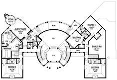 Luxury Plan: 10,639 Square Feet, 6 Bedrooms, 8 Bathrooms - 5445-00188 Luxury House Plans, Best House Plans, House Floor Plans, Unique House Plans, Concept Architecture, Architecture Design, Residential Architecture, Hospital Plans, Hospital Floor Plan