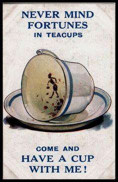1930 Bamforth Comic postcard Gypsy Fortune Teller Crystal Ball Tea Leaves reader