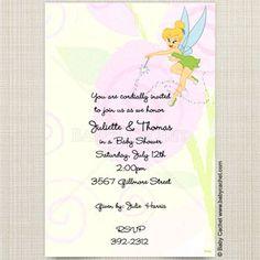 Disney Tinker Bell Fairy Baby Shower Invitations