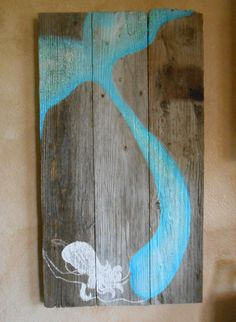 Mermaid on Reclaimed Barnwood Beach Glittered by tawnystreasures