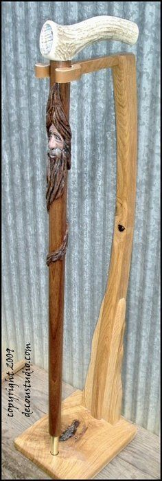 Walking Cane: Carved Art Cane, Smiling Wood Spirit, Walnut Shaft, Elk Antler Handle, Abalone Inlay