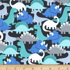Michael Miller Pastel Pop Dino-Mites Boy from @fabricdotcom  From Michael Miller, this cotton print is perfect for quilting, apparel and home decor accents.  Colors include white, shades of grey, black, periwinkle and shades of aqua.
